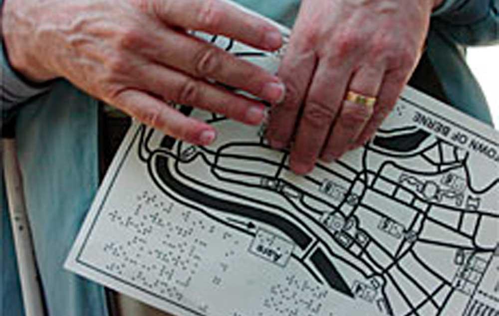 Berna na Suíça, oferece passeios projetados para cegos e deficientes visuais