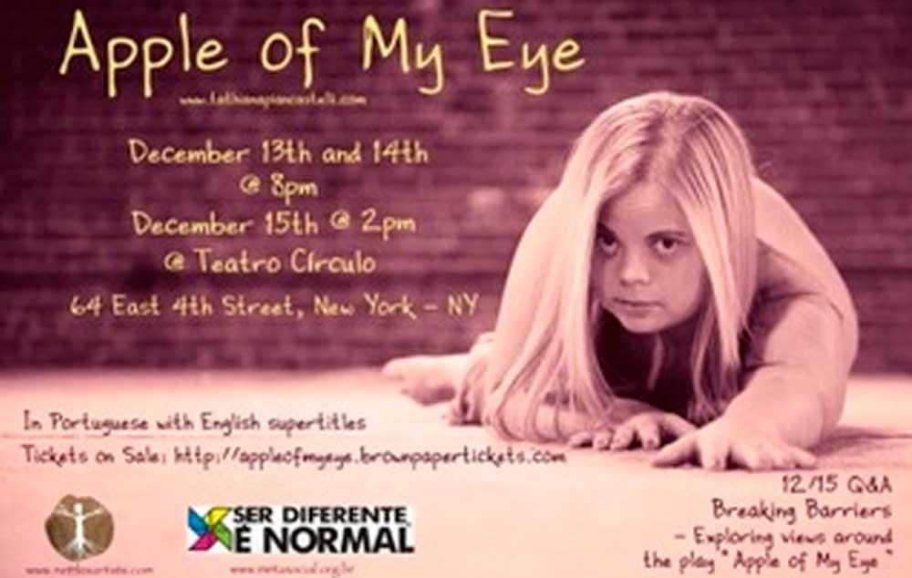 Cartaz da peça 'Menina dos Meus Olhos' mostra Tathiana Piancastelli realizando performance