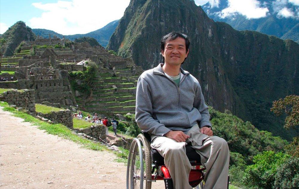 O empresário Ricardo Shimosakai em viagem a Machu Picchu, no Peru, uma das 7 maravilhas do mundo moderno