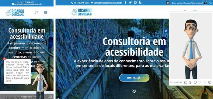 Dois prints do celular e da tela do computador, abertos na página de consultoria em acessibilidade do site Ricardo Shimosakai, juntamente com o aplicativo Hand Talk
