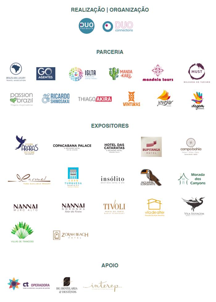 Por um turismo mais inclusivo. Banner com os logotipos das empresas organizadoras do evento BRASIL UM NOVO OLHAR, parceiros, expositores e apoiadores.